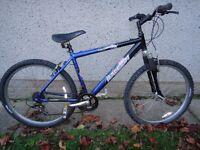 Raleigh free ride bike, 26 inch wheels, 18 inch aluminium frame, 21 gears front suspension