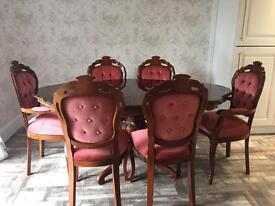 Italian Style inlaid dining table and chairs