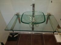 Glass Designer Vanity Unit and Basin with Pillar Tap.