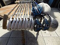 John Letters TR47 Irons and Fairway Woods, Ping G2 Driver, Ping brass Putter, Bag and Trolley
