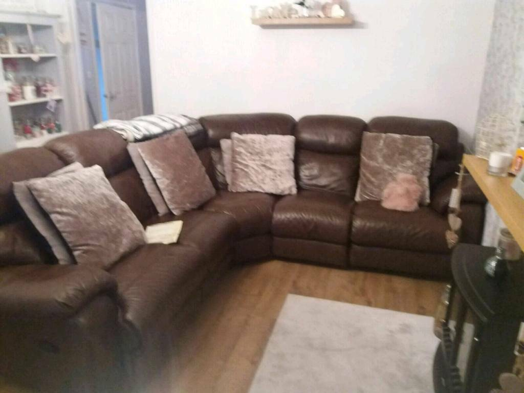 Large Brown Leather Corner Sofa In Hull East Yorkshire