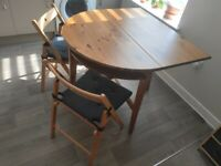 Round Folding Half Moon Dining/Side/Hall Table with set of two chairs