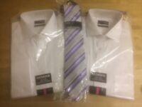 "2 Thomas Nash formal white shirts (16"" Collar) & Tie"