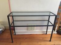 CAST IRON AND GLASS CONSOLE TABLE - GREAT CONDITION