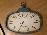 French hotel style wall clock with aged paint effect