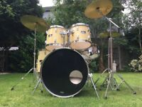 Complete Pearl Export Drum Kit - All Hardware Cymbals Remo Heads - All Set To Go