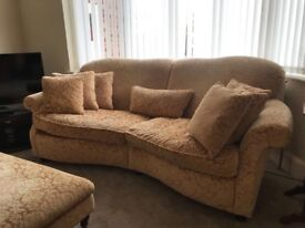 2 sofas and pouffe, quality damask velour. Pinks and golds.