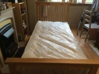 Wooden Framed Single Bed With BRAND NEW Mattress