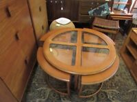 Retro G Plan Teak Nest of Tables - Glass topped circular Coffee Table with 4 smaller