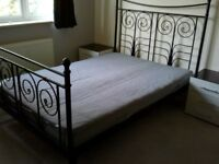 Decorative Iron Bed Frame with Mattress - Double