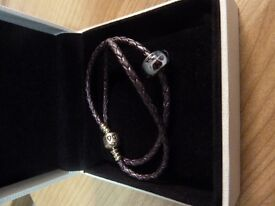 Pandora Moments Double Woven Leather Bracelet and Blue Butterfly Kisses