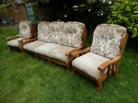 Antique effect sofa with 2 armchairs