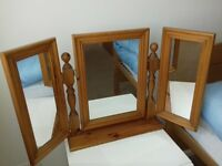 Dressing table adjustable, pine, mirror for collection