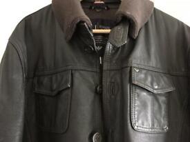 Genuine dark brown leather Armani bomber jacket