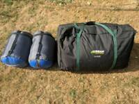 Urban Escape 6 Man Tent + 2 sleeping bags