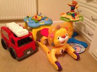 Vtech tower, activity table, 3in1 lion and fire engine