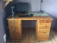Solid pine desk with drawers and cupboard