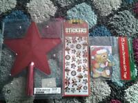 new red star, xmas stickers and jumbo gift tags £1