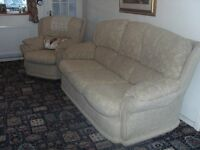 3 str sofa and 2 armchairs, pale gold. Very good condition