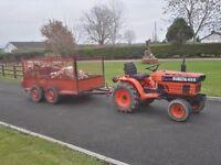 Kubota b7200 tractor & Trailer new tyres no vat JCB farm landscape