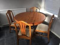 Pine extendable table and 4 chairs
