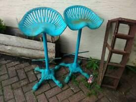 Ornate cast iron original tractor stools