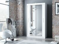 120 150 180 203 250 CM WIDE New Berlin 2 Door Full Mirror Sliding Wardrobe w Shelves & Rails