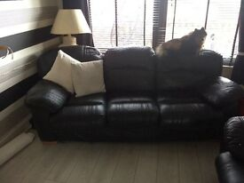 Black leather 3 piece suite great condition hard wearing sofa willl last for years ...