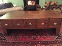 Beautiful large wooden coffee table with drawers