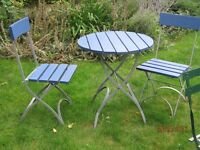 Blue & Green Wood & Metal folding Cafe Set (Table & 2 Chairs)