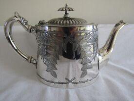 Antique Ornate Engraved Decorative Teapot - Silver Plate