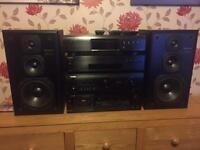 Denon amplifier and denon CD player and onkyo tuner DAB + RDS and technics 3 way speakers.