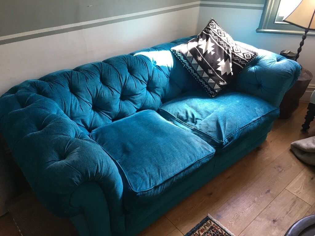 Teal Chesterfield Sofa lewis cromwell chesterfield 3 seater sofa in teal in st