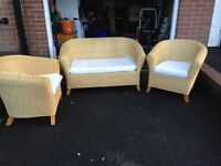 Three piece wicker suite, 2 chairs and 1 settee, very good condition £90