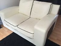 3 seater & 2 seater leather sofa with black trim