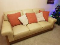 Cream leather 3 seater sofa. Free to a good home. General wear and tear but in good condition.
