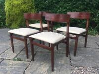 4 DINING CHAIRS retro vintage 1960 1970 MID CENTURY