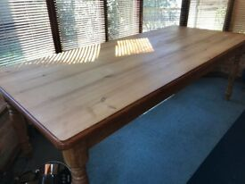 Large very sturdy pine dining table with 4 fixed corner legs