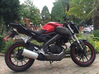 2015 YAMAHA MT125 )NAKED YZF125) MINT CONDITION MUST BE SEEN NICE COLOUR ,FINANCE ETC £2799