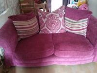Pink dfs 3 and 2 seater sofas