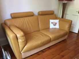 Natuzzi leather sofa and armchair high quality soft butterscotch colour excellent condition.