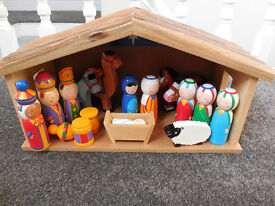 Child's Wooden Nativity Set with figures - comes with original box