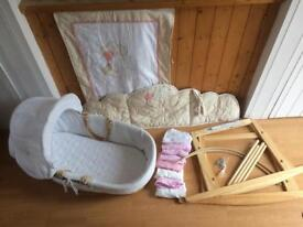Moses Basket with stand and bedding