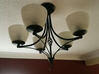 5 lamp ceiling light and wall lamps