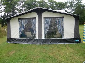 Kampa Carnival Awning brown /cream in vgc. to fit 900. alloy poles. wheel arch cover. rail skirt