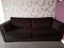 2 black fabric sofas
