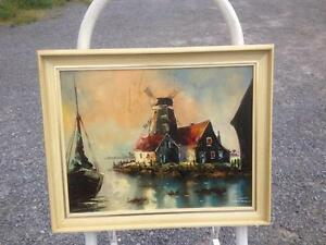 3 SMALL OLD COTTAGE OIL PAINTINGS