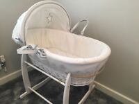 Clair de lune silver lining Moses basket with stand