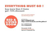EVERYTHING MUST GO !!! - Bed & Living