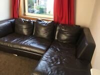 Free brown leather corner sofa
